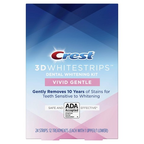 Crest 3d Whitestrips Vivid White Gentle Teeth Whitening Kit 12ct
