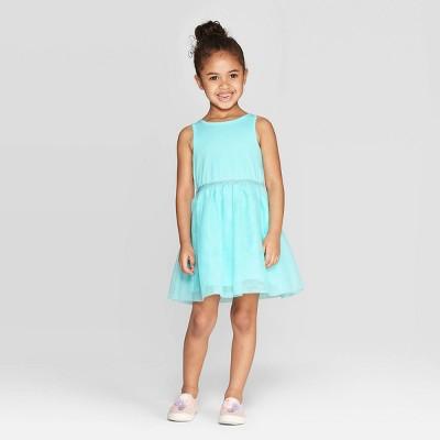 Toddler Girls' Solid A-Line Dress - Cat & Jack™ Aqua 12M