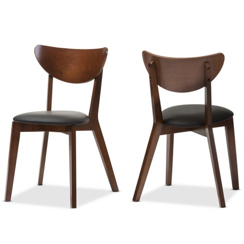 Set Of 2 Sumner Mid Century Faux Leather Dining Chairs Black Walnut Brown Baxton Studio