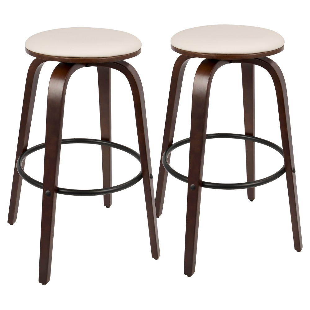 Porto Mid Century Modern 30 In Barstool with Swivel - White (Set of 2) Lumisource, Red White