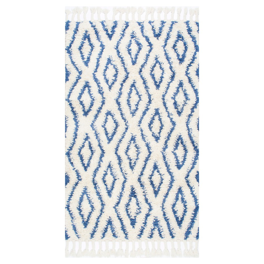 nuLOOM 100% Wool Hand Knotted Soukey Area Rug - Blue (8' 6