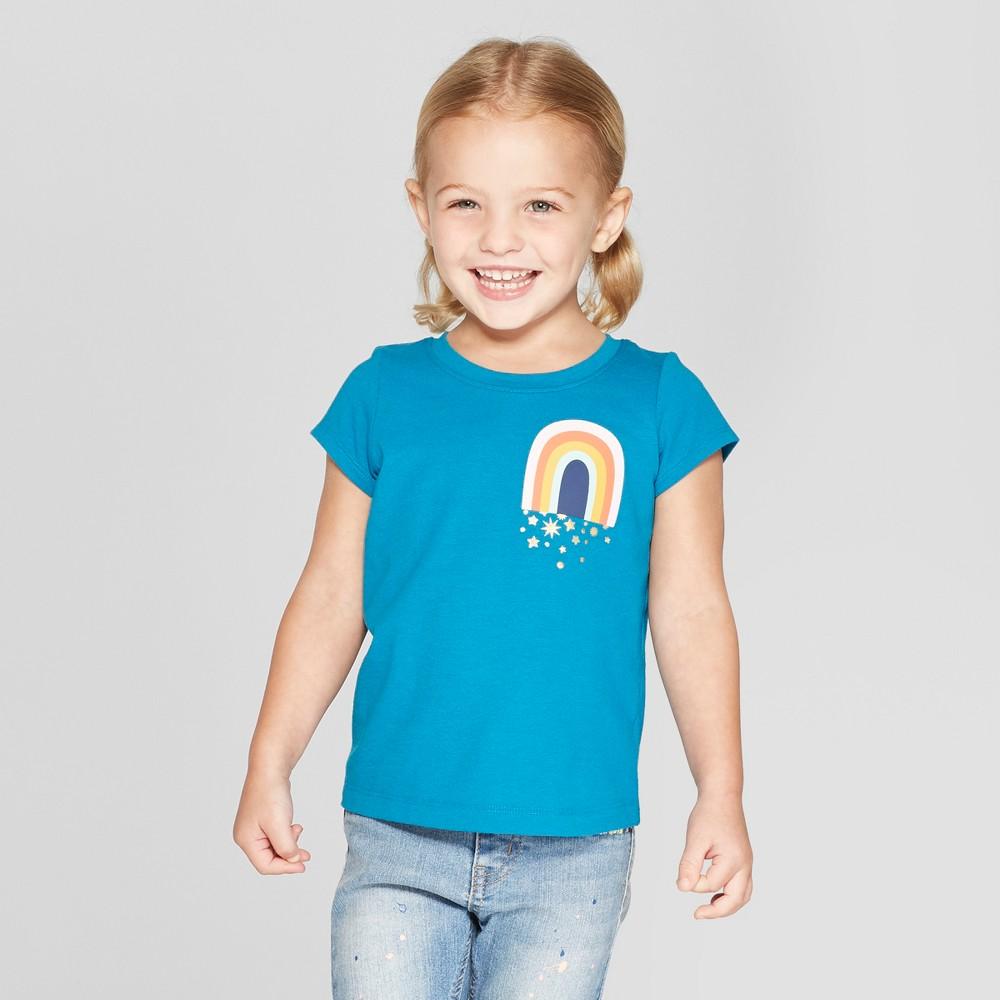 Toddler Girls' Short Sleeve 'Rainbow' Graphic T-Shirt - Cat & Jack Blue 18M