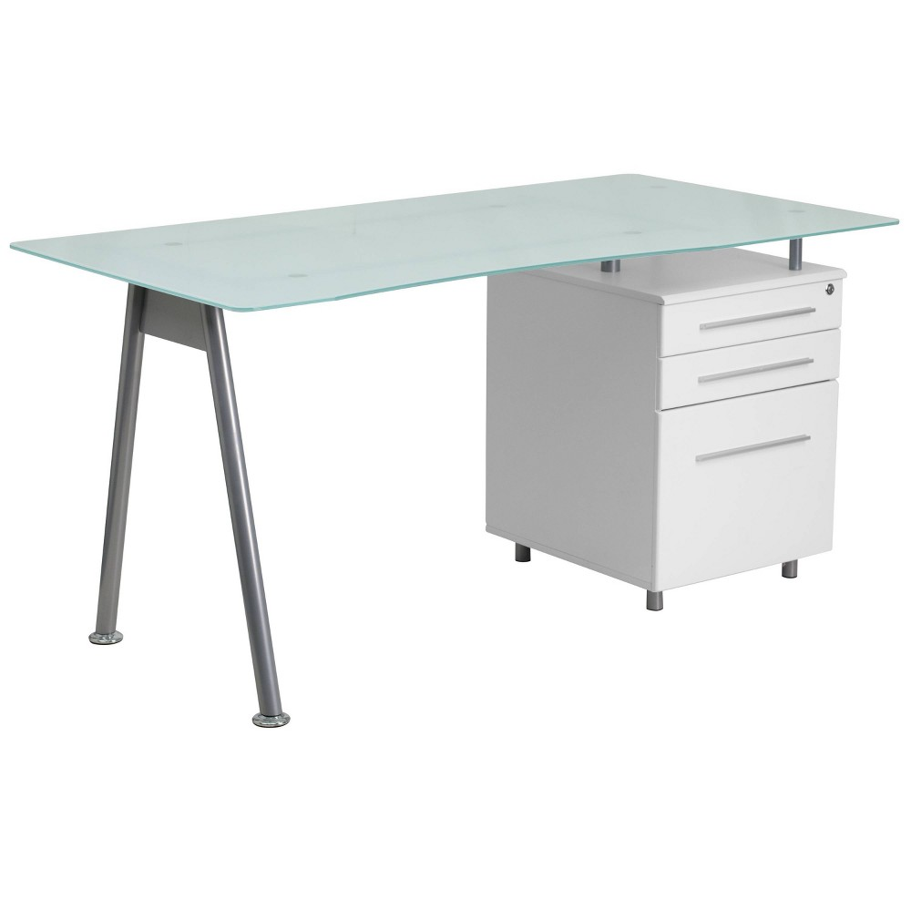 Image of Glass Computer Desk with Three Drawer Pedestal - Frosted Glass Top/Silver Frame/White Pedestal - Riverstone Furniture Collection