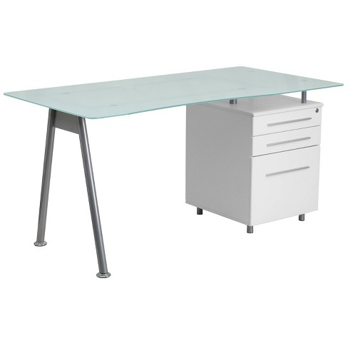 Glass Computer Desk with Three Drawer Pedestal - Frosted Glass Top/Silver Frame/White Pedestal - Riverstone Furniture Collection - image 1 of 2