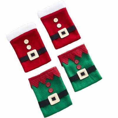 Lakeside Winter Holiday Elf & Santa Flatware Holders - Set of 4