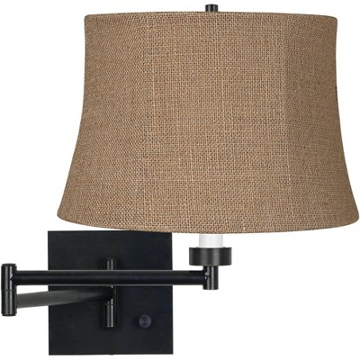Franklin Iron Works Modern Swing Arm Wall Lamp Espresso Plug-In Light Fixture Natural Burlap Drum Shade Bedroom Bedside Reading