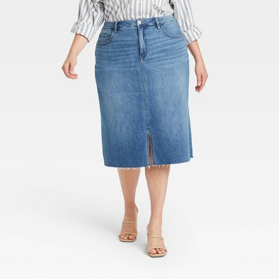 Women's Plus Size Straight Denim Skirt - Ava & Viv™ Medium Wash