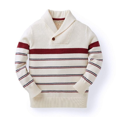 Hope & Henry Boys' Tan and Red Striped Sweater with Shawl Collar, Infant