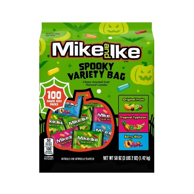 Mike and Ike Halloween Spooky Mix Snack Size Stand-Up Bag - 50oz/100ct