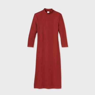 Women's Long Sleeve Rib Knit Dress - A New Day™Red L