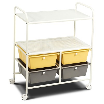 Costway Rolling Storage Cart w/4 Drawers 2 Shelves Metal Rack Shelf Utility Organizer