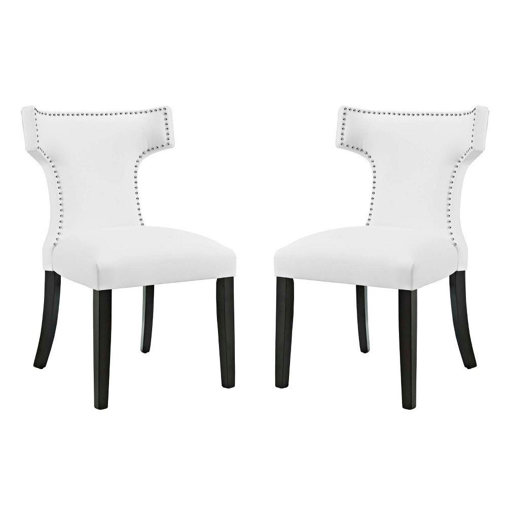 Curve Dining Side Chair Vinyl Set of 2 White - Modway