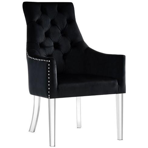Colton Black Dining Chair - Velvet - Set of 2 - Acrylic Legs in Black - Posh Living - image 1 of 3
