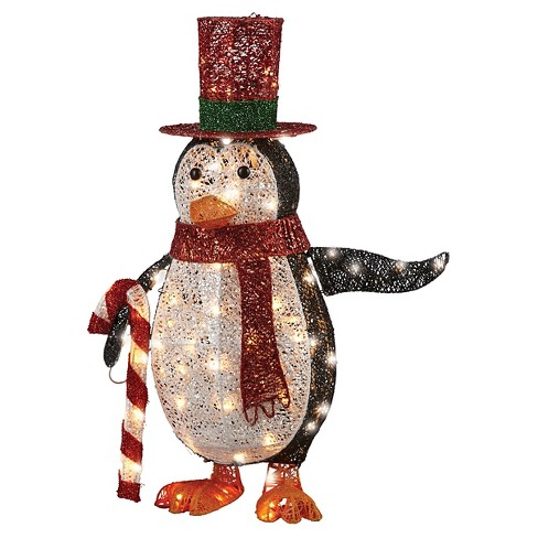 3' LED Lit Penguin with Red Top Hat Holding Candy Canes - image 1 of 1