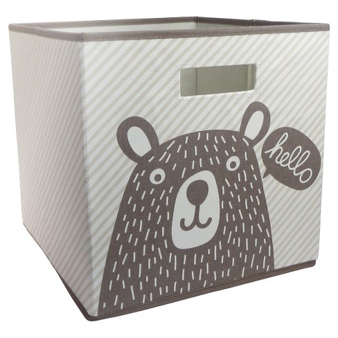 "13""x13"" Hello Bear Fabric Cube Toy Storage Bin - Pillowfort™ - image 1 of 1"