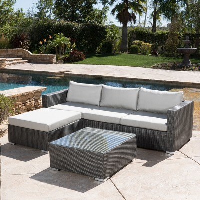 Santa Rosa 5pc Wicker Patio Seating Sectional Set with Cushions - Gray with Silver Gray Cushions - Christopher Knight Home