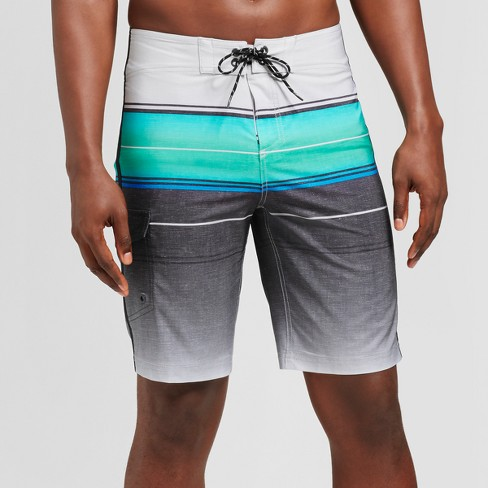 "Men's 10.5"" Ombre Blue Stripe Board Shorts - Goodfellow & Co™ Quill Gray - image 1 of 3"