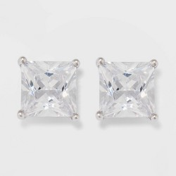 Sterling Silver Princess Cubic Zirconia Stud Fine Jewelry Earrings - A New Day™ Silver/Clear