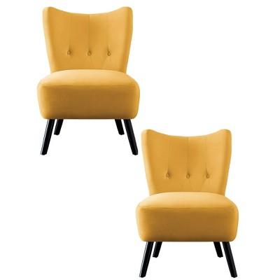 Homelegance Imani Mid Century Modern Velvet Accent Upholstered Living Room Bedroom Lounge Chair, Yellow (2 Pack)
