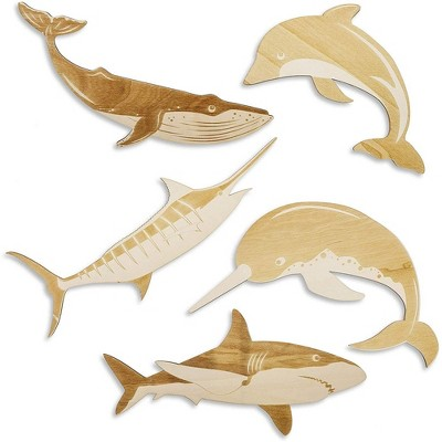 5 Pack Ocean Sea Life Unfinished Wood Cutouts, DIY Shark Dolphin Whale Painting, Arts and Crafts for Kids, 5 Designs, Assorted Sizes