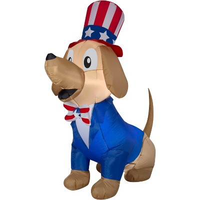 Gemmy Airblown Inflatable Patriotic Pooch, 5 ft Tall, blue