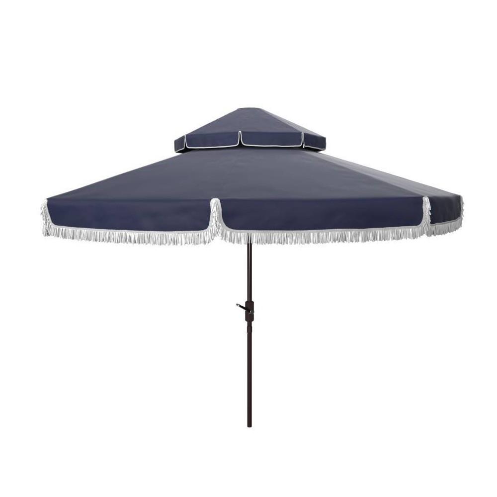 8 4 39 Round Milan Fringe Double Top Umbrella Navy White Safavieh