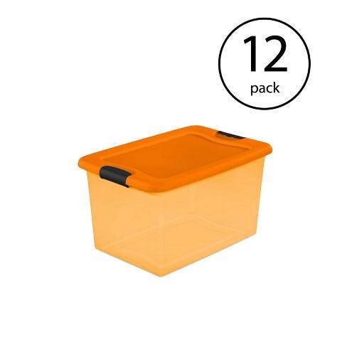 Sterilite Orange 64 Quart Latching, Orange Plastic Storage Totes