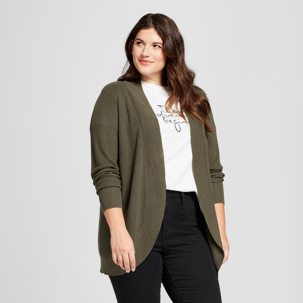 Women's Plus Size Long Sleeve Textured Cardigan - A New Day Olive (Green) 1X