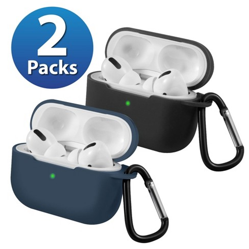 2-Pack For AirPods Pro Case [Midnight Blue & Black] Ultra Thin Silicone Protective Cover with Keychain For Apple AirPods Pro 2019 (3rd Gen) by Insten - image 1 of 1
