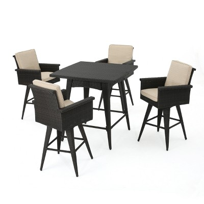 5pc Marbella Wicker Bar Height Dining Set With Sunbrella Fabric Dark  Brown/Sand   Christopher Knight Home