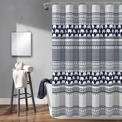 """72""""x72"""" Elephant Striped Shower Curtain Single Navy - Lush Décor"""