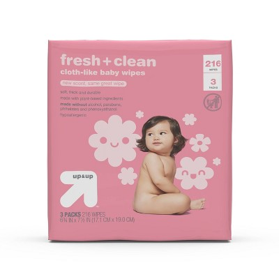 Fresh & Clean Scented Baby Wipes - 3pk/216ct Total - Up&Up™