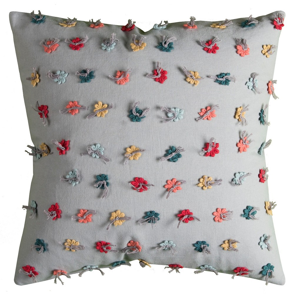Flowers Throw Pillow - (18x18) - Rizzy Home, Multi-Colored