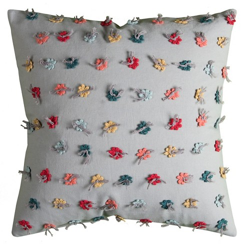 Flowers Throw Pillow - (18x18) - Rizzy Home - image 1 of 1