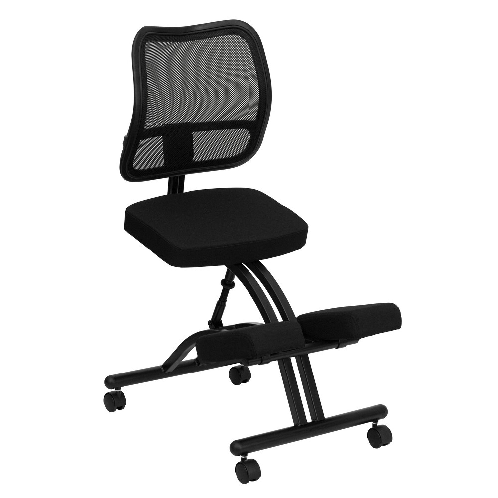 Coupons Mobile Ergonomic Kneeling Chair with Black Curved Mesh Back and Fabric Seat - Flash Furniture