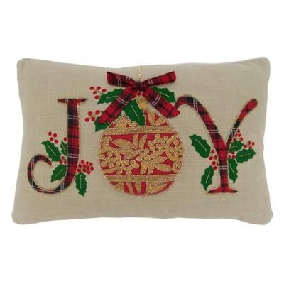 Joy Holiday Design Throw Pillow Cover - Saro Lifestyle