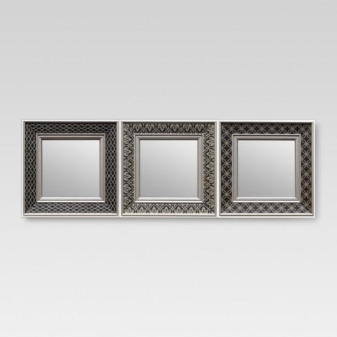 Square Mirror Set Of 3 Black Tonal Threshold