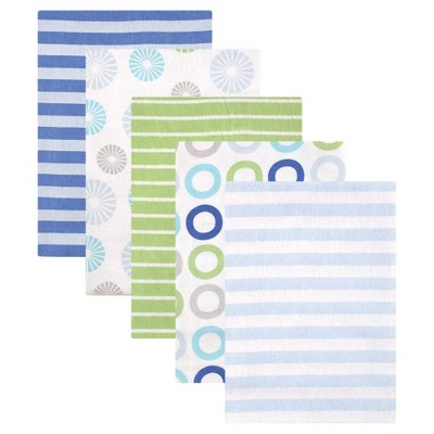 Luvable Friends Unisex Baby Cotton Flannel Receiving Blanket - Blue Pinwheel One Size