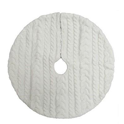 18  Mini Cable Knit Christmas Tree Skirt Cream - Wondershop™