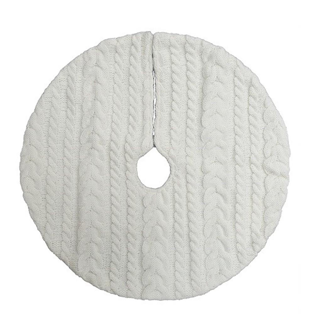 18 Mini Cable Knit Christmas Tree Skirt Cream (Ivory) - Wondershop