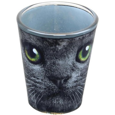 Just Funky Black Cat With Green Eyes 2oz Shot Glass