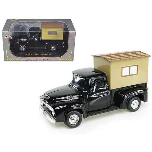 1956 Ford F-100 Pickup Truck Black with Camper 1/32 Diecast Model Car by Signature Models - image 1 of 1