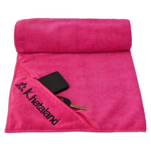 Khataland Premium Sports Towel with Zipper Pocket -Pink - image 1 of 1