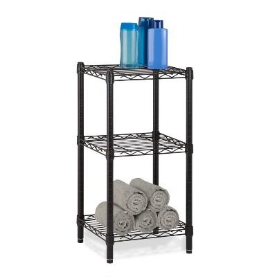 Honey-Can-Do 3 Tier Adjustable Storage Shelving Unit Black