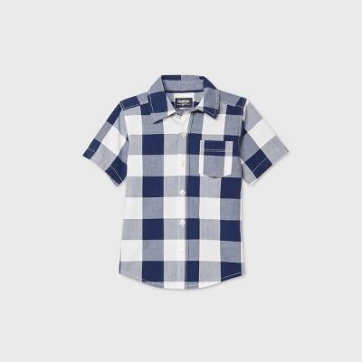 OshKosh B'gosh Toddler Boys' Short Sleeve Checks Woven Button-Down Shirt - Navy 4T