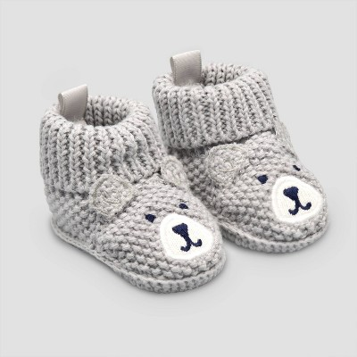 Baby Boys' Knitted Bear Slipper - Just One You® made by carter's Gray Newborn