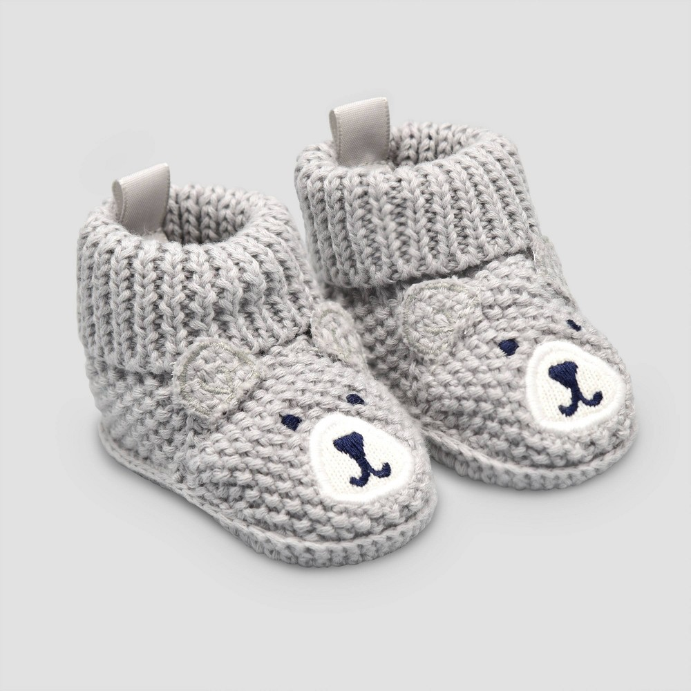 Image of Baby Boys' Knitted Bear Slipper - Just One You made by carter's Gray Newborn, Boy's
