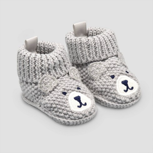 Baby Boys' Knitted Bear Slipper - Just One You® made by carter's Gray Newborn - image 1 of 1