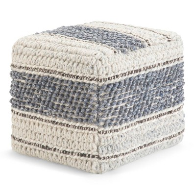 Heyfield Square Pouf Natural/Blue - Wydenhall
