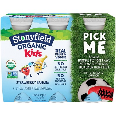 Stonyfield Organic Kids' Strawberry Banana Yogurt Smoothies - 6pk/3.1 fl oz bottles